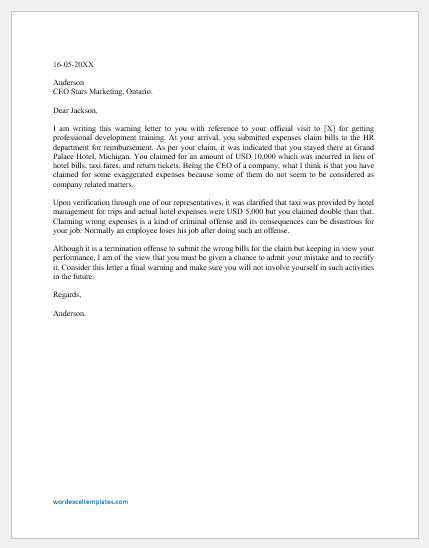 Warning Letter to Employee for Wrong Expenses Claim
