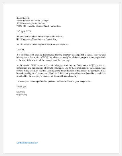 Year-End Bonus Cancellation Letter to Employees