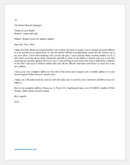 Address update letter to bank