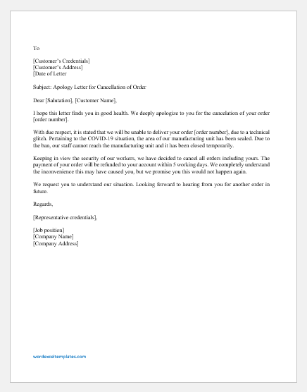 Apology Letter by Supplier for Order Cancelation