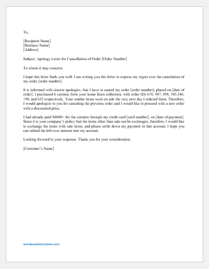 Apology letter by Customer for Order Cancellation