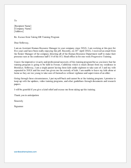 Email to Excuse from Training