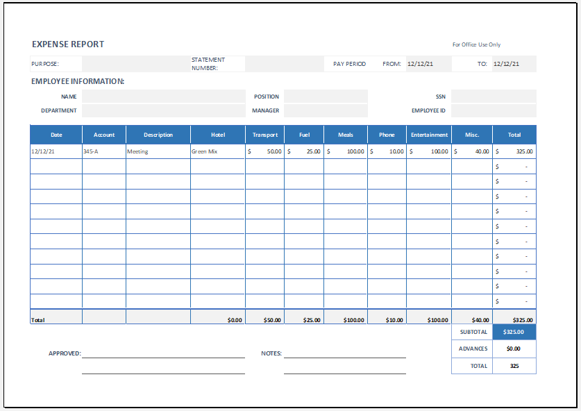 Employee Expense Report Template for Excel