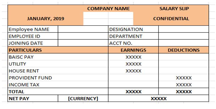 Excel Salary Slip Format
