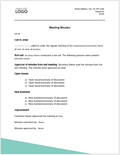 Formal Meeting Minute Template for Word