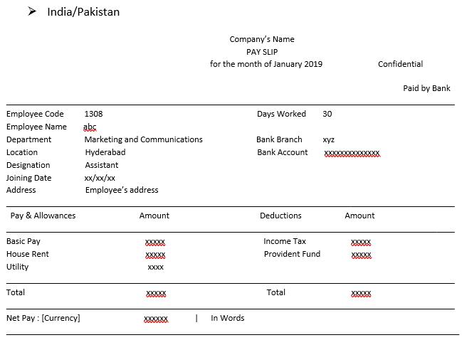 India-Pakistan Salary Format