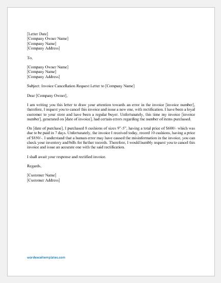 Invoice Cancellation Request Letter