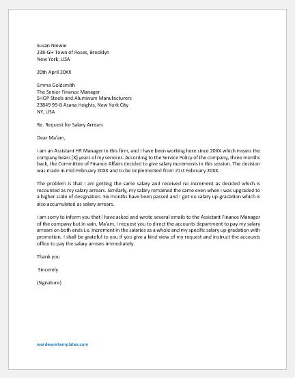 Letter Asking for Salary Arrears