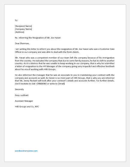 Letter Informing the Client about an Employee's Resignation