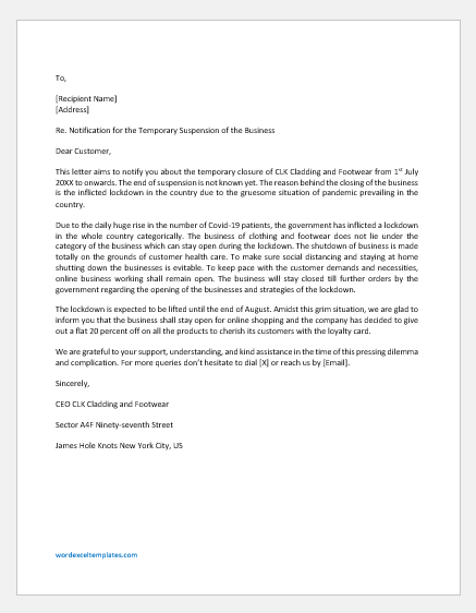 Letter Informing the Customers Temporary Closure of Business