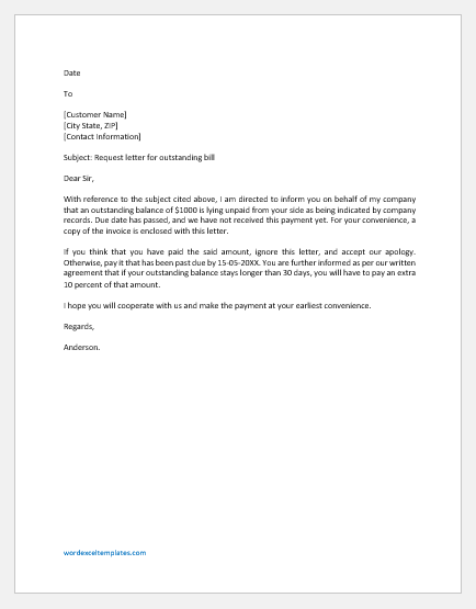 Letter Requesting Outstanding Bill