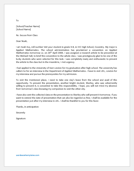 Letter to Teacher to Excuse from Class