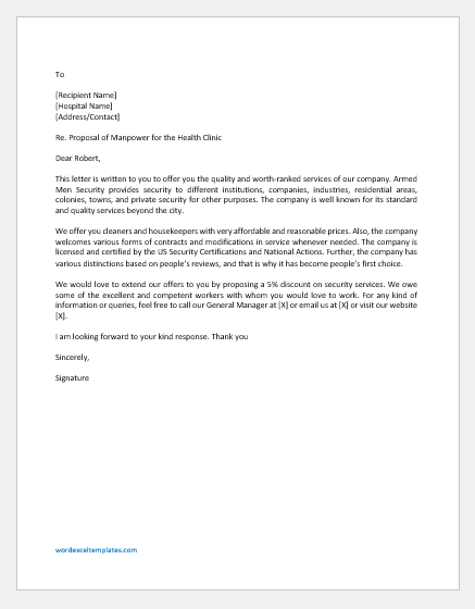 Proposal Letter To Hospital For Manpower Word Excel Templates