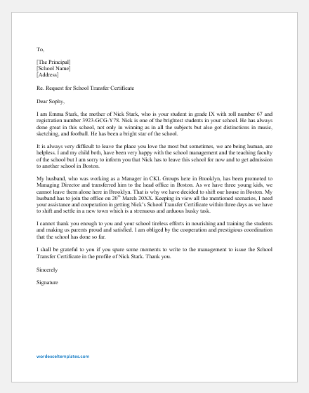 Request Letter by Parents for Kids School Transfer