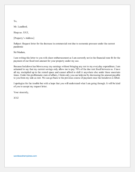 Request Letter for Decrease in Commercial Rent Due to Pandemic