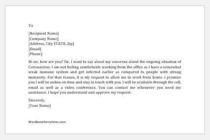 Request to work from home message