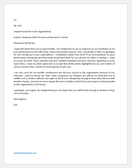Response Letter for Poor Performance