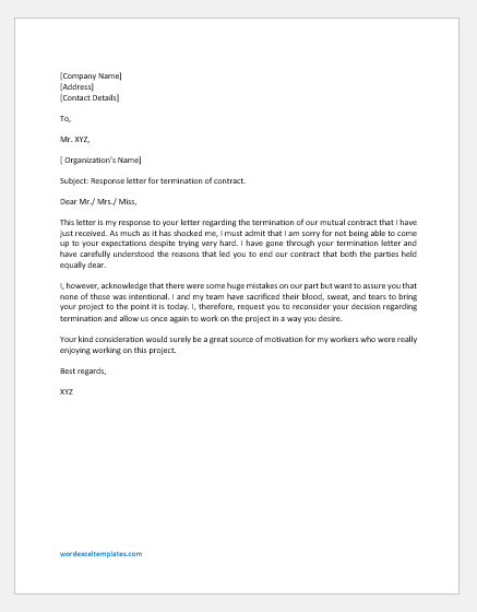Response Letter for Termination of Contract