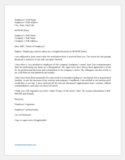 Letter Of Termination From Employer from www.wordexceltemplates.com