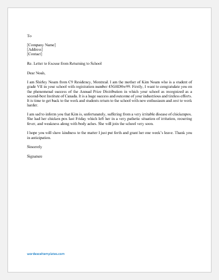 Return to School Excuse Letter from Parents