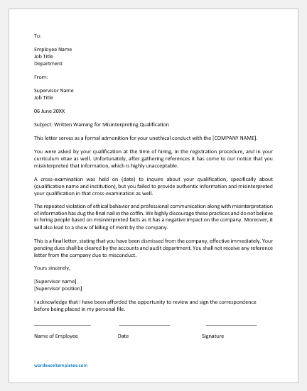 Suspension Letter for Misrepresenting One's Qualifications