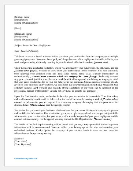Termination letter for gross negligence