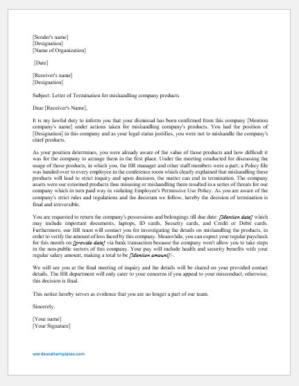 Termination letter for mishandling company products