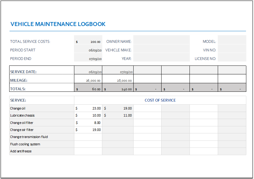 Vehicle Maintenance Logbook Template for Excel