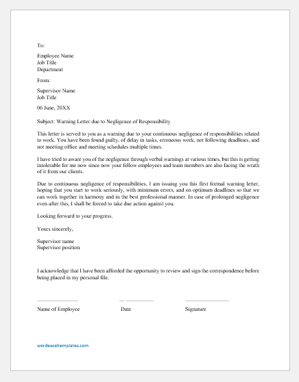 Warning Letter for Negligence of Responsibility