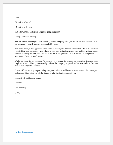 Warning Letter for Unprofessional Behavior as a Lawyer