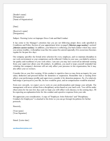 Warning Letter To Employee For Poor Dressing And Conduct Word Excel Templates
