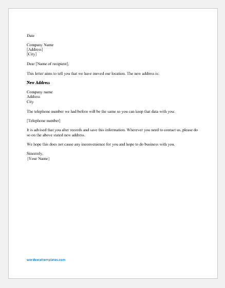 Company Address Change Letter to Customers