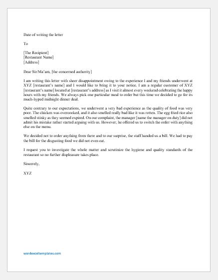 Complaint Letter about Food Hygiene