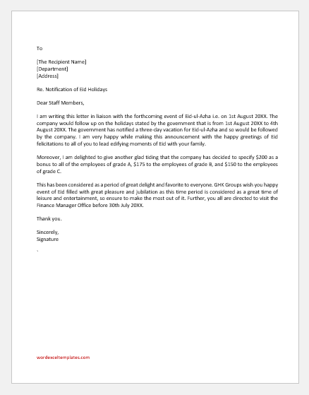 Eid Holiday Announcement Letter