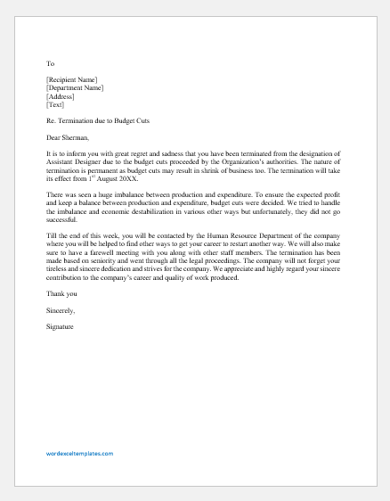 Sample Layoff Letter Due To Budget Cuts from cdn.shortpixel.ai