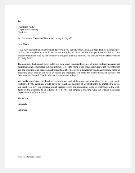 Layoff Letter Due to Company Closure