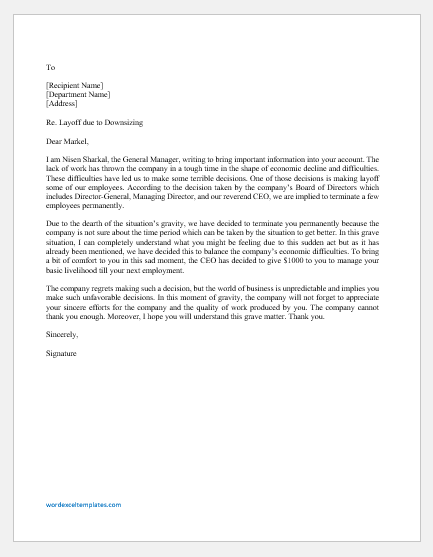 Layoff Letter Due to Downsizing