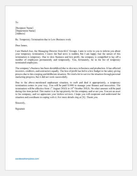 Layoff Letter Due to Slow Business