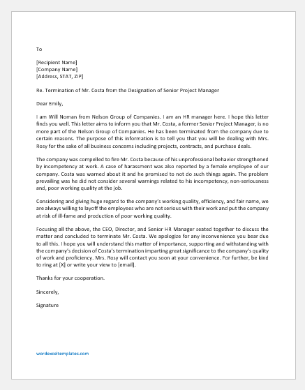 Letter Informing Customers about an Employee's Termination