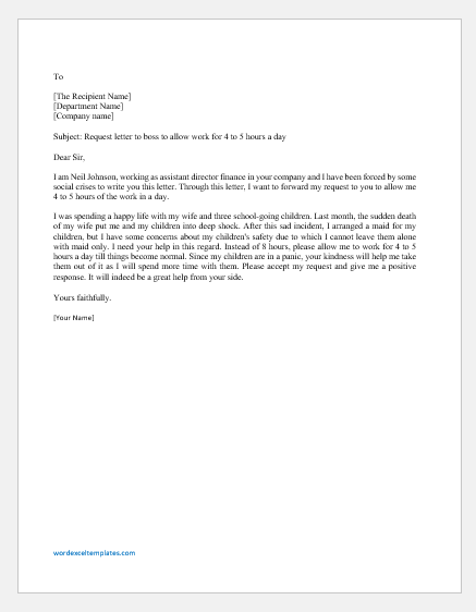 Letter Requesting Boss to Reduce the Working Hours