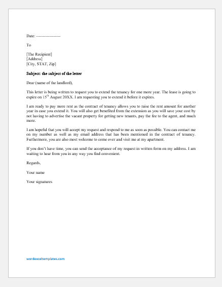 Letter of Extension of Tenancy