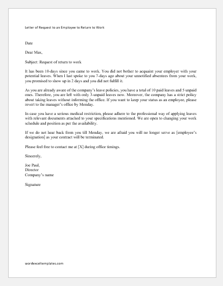 Letter of Request to an Employee to Return to Work