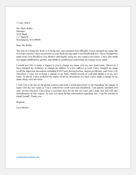 Letter to Change the Name in Bank Account