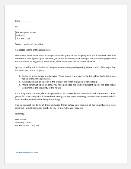 Letter to Contractor for Damage