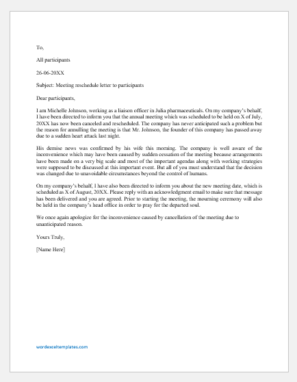 Meeting Reschedule Letter to Participants