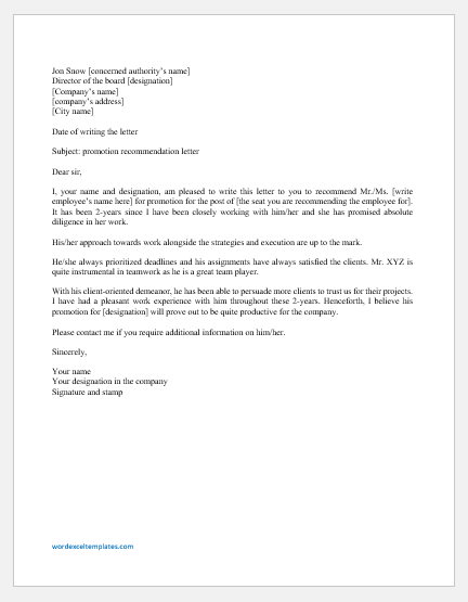 Recommendation Letter For Promotion from www.wordexceltemplates.com
