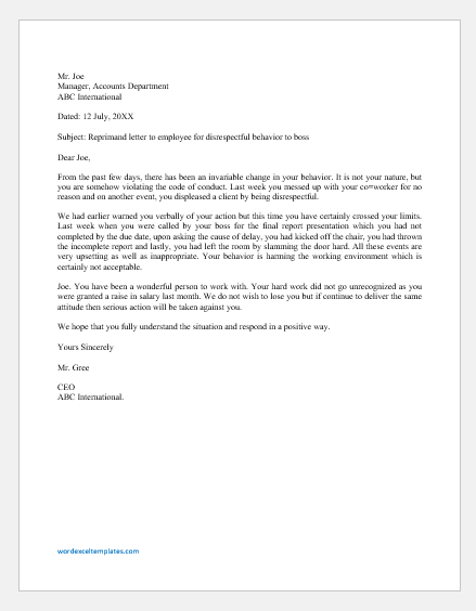 Reprimand Letter to Employee for Disrespectful Behavior to Boss