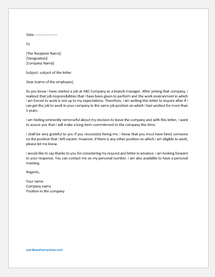 Request Letter Contacting Previous Employer to Return to Work