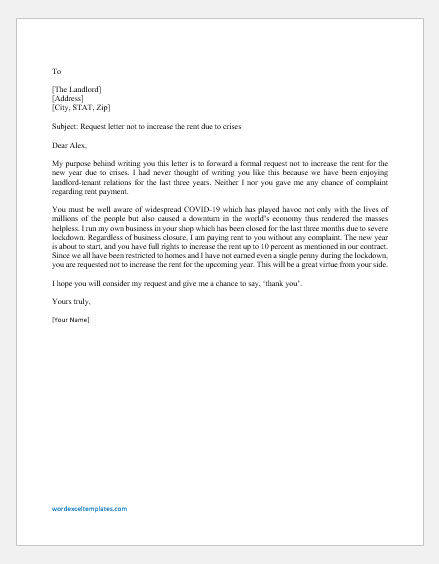 Request Letter not to Increase Rent due to Crises