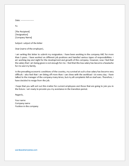 Resignation Letter due to Unfair Pay